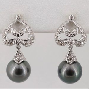 Jewelry - Vintage Tahitian Pearl & diamond drop earrings